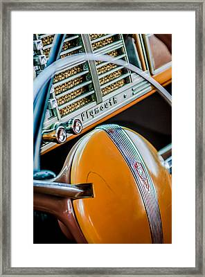 1940 Plymouth Deluxe Woody Wagon Steering Wheel Emblem -0116c Framed Print by Jill Reger