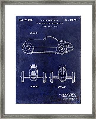 1940 Toy Car Patent Drawing Blue Framed Print by Jon Neidert