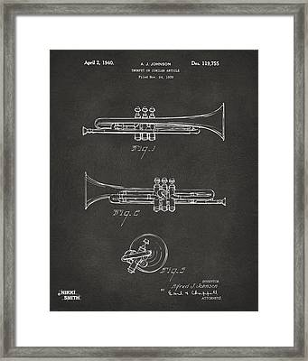 1940 Trumpet Patent Artwork - Gray Framed Print by Nikki Marie Smith
