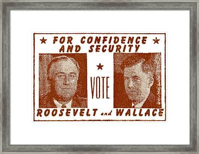 1940 Vote Roosevelt And Wallace Framed Print