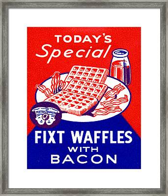 1940 Waffles With Bacon Framed Print