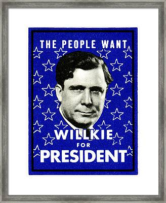 1940 Willkie For President Framed Print by Historic Image