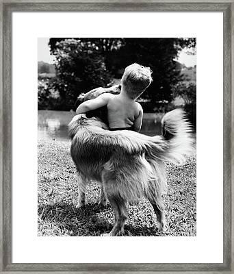 1940s 1950s 1960s Back View Of Boy Framed Print