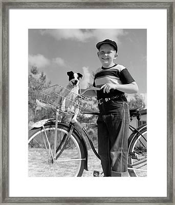 1940s 1950s Boy On Bike With Puppy Framed Print