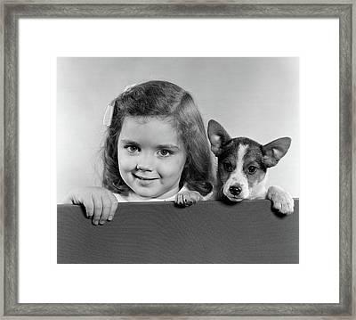 1940s 1950s Portrait Of Little Girl Framed Print