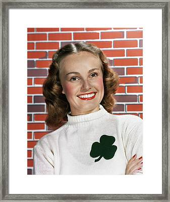 1940s 1950s Portrait Smiling Woman Framed Print