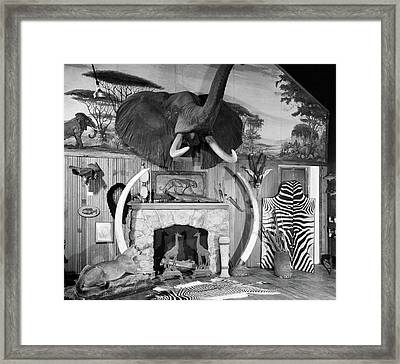 1940s 1950s Room With Big Game Trophies Framed Print