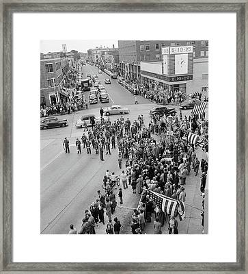 1940s 1950s Small Town Crowd People Men Framed Print