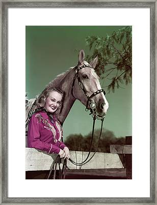 1940s 1950s Smiling Blond Woman Looking Framed Print