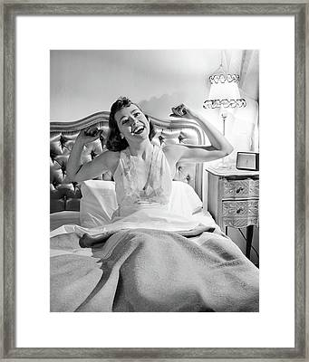 1940s 1950s Smiling Woman In Bed Waking Framed Print
