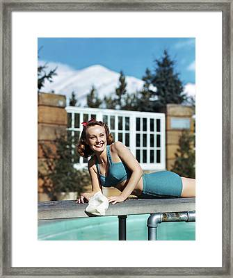1940s 1950s Smiling Woman Wearing Two Framed Print