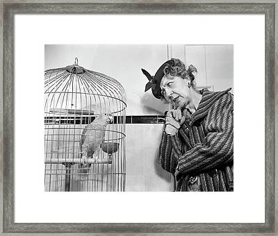 1940s 1950s Strange Perplexed Woman Framed Print