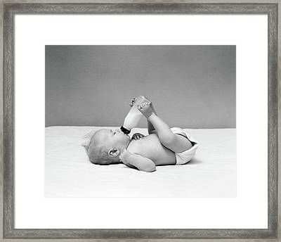 1940s Baby Prone Drinking From Milk Framed Print