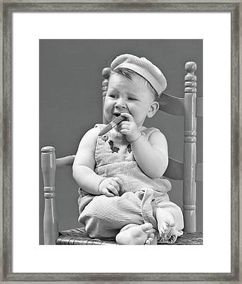 1940s Baby Sitting Chair Holding Cigar Framed Print