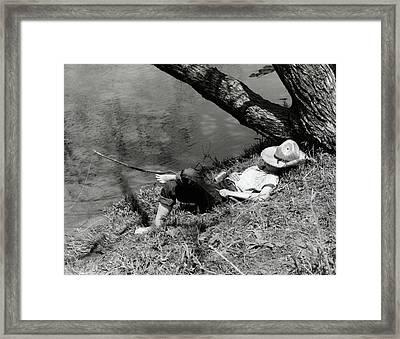 1940s Barefoot Boy Sleeping Under Tree Framed Print