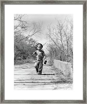 1940s Boy Walking Down Country Road Framed Print