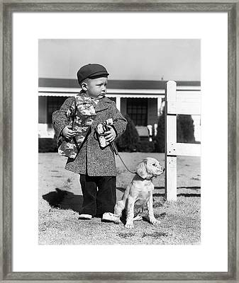1940s Boy With Puppy On Leash Holding Framed Print