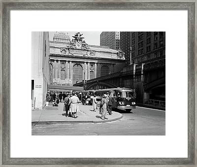 1940s Buses At Airlines Terminal Framed Print