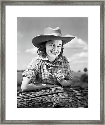 1940s Cowgirl In Ten Gallon Western Framed Print