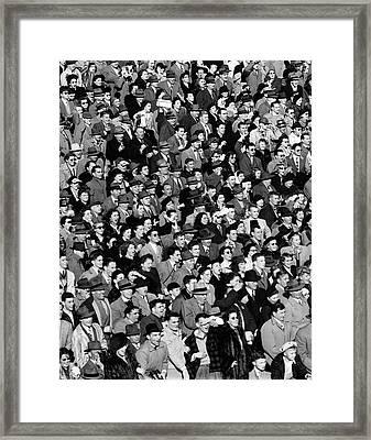 1940s Crowd In Bleachers At Football Framed Print