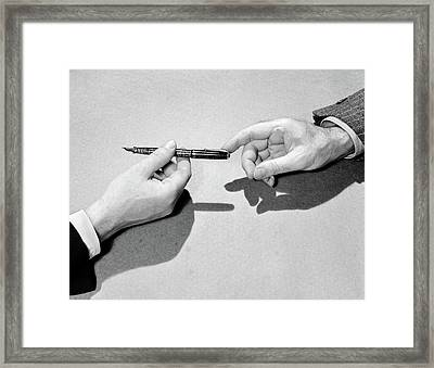 1940s Fountain Pen Being Passed Framed Print