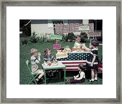 1940s Girls And Boys In Business Framed Print