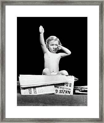 1940s Little Blond Toddler Girl Framed Print