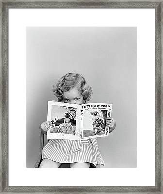 1940s Little Girl Peeking Over Top Framed Print