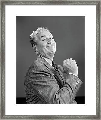 1940s Man Smiling Proud Pointing Framed Print