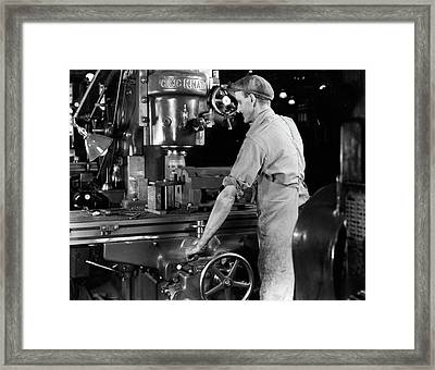 1940s Man Worker Operating Large Framed Print
