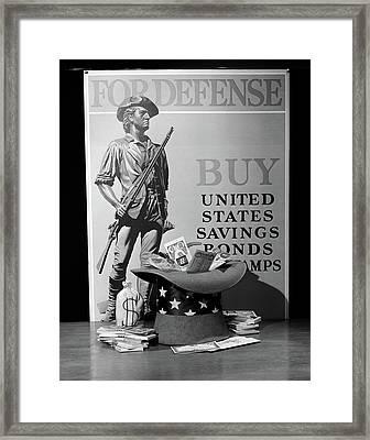 1940s Minute Man Defense Poster Ww2 Buy Framed Print