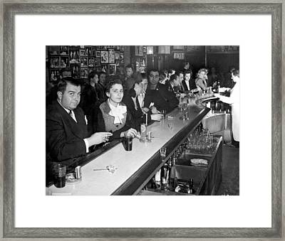 1940s Ny Bar Scene Framed Print