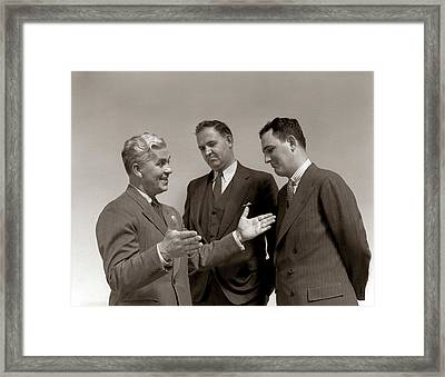 1940s One Man Telling Story To Two Framed Print