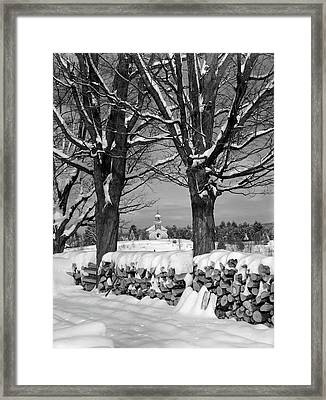 1940s Pile Of Snow-covered Firewood Framed Print