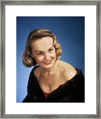 1940s Portrait Smiling Blond Woman Framed Print