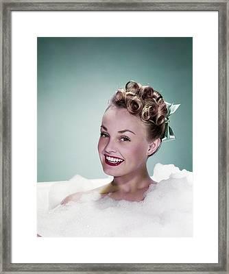1940s Portrait Smiling Teen Girl Framed Print