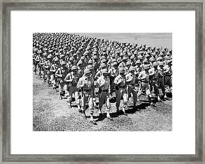 1940s Ranks And Files Rows Of World War Framed Print