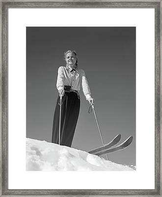1940s Smiling Blond Woman Skier Poised Framed Print