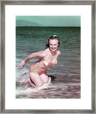1940s Smiling Blond Woman Wearing Gold Framed Print