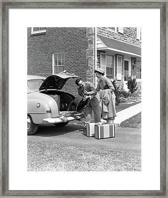 1940s Smiling Couple Woman Handing Man Framed Print