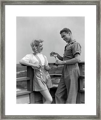 1940s Smiling Coy Couple On Outdoor Framed Print