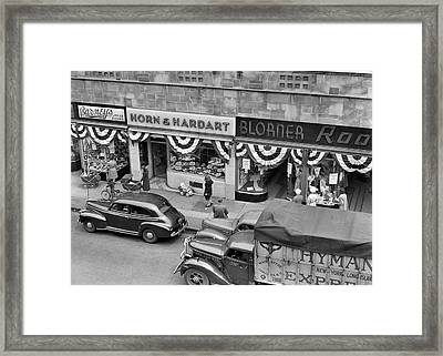 1940s Store Fronts Decorated Framed Print