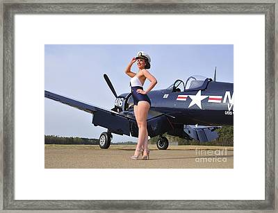 1940s Style Navy Pin-up Girl Posing Framed Print