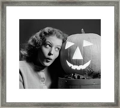 1940s Teen Girl With Scared Expression Framed Print