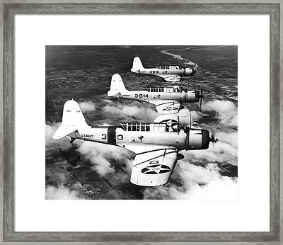 1940s Three World War II Us Navy Dive Framed Print
