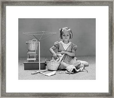 1940s Unhappy Little Blond Girl Playing Framed Print