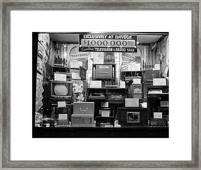 1940s Window Of Store Selling Radios Framed Print