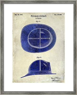 1941 Firemans Helmet Patent Drawing 2 Tone  Framed Print