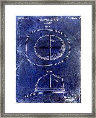 1941 Firemans Helmet Patent Drawing Blue Framed Print