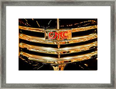 1941 Gmc Suburban Woody Wagon Grille Emblem Framed Print by Jill Reger
